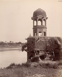 Agra. Zahra Bagh. Octagonal tower on the south-west corner facing the Jumna from the south-east
